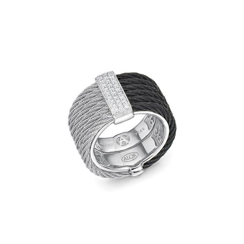 ALOR Black & Grey Cable Colorblock Ring with 18kt White Gold & Diamonds