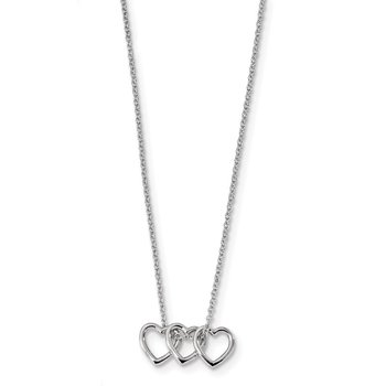 Sterling Silver Rhodium-plated 18in Hearts Necklace
