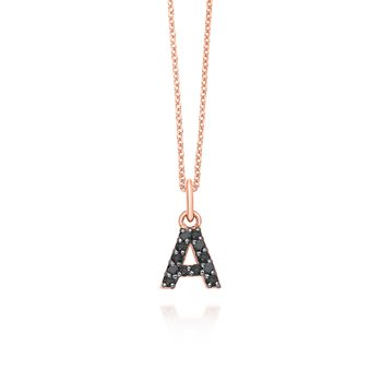 "Black Diamond Baby Block Initial ""A"" Necklace"