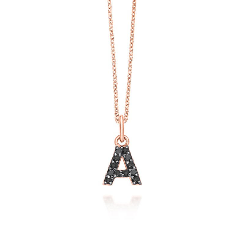 "KC Designs Black Diamond Baby Block Initial ""A"" Necklace"