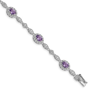 Sterling Silver Rhodium-plated Purple and Clear CZ Bracelet