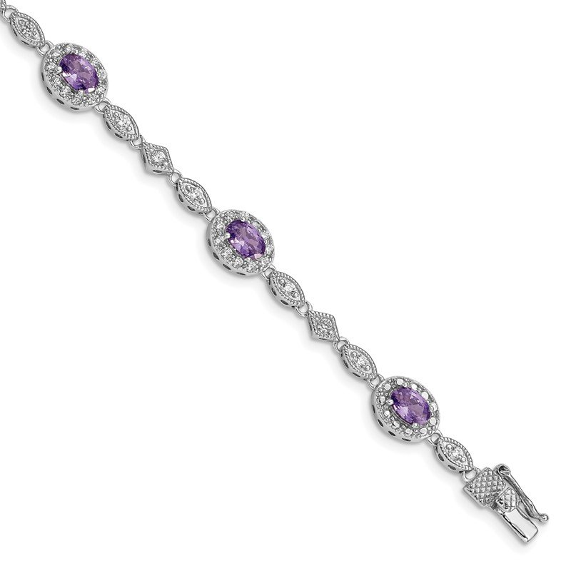 Quality Gold Sterling Silver Rhodium-plated Purple and Clear CZ Bracelet