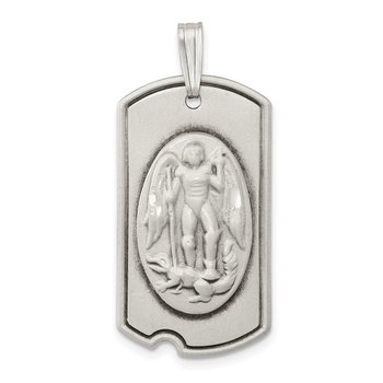Sterling Silver Antiqued Dog Tag Saint Michael Pendant