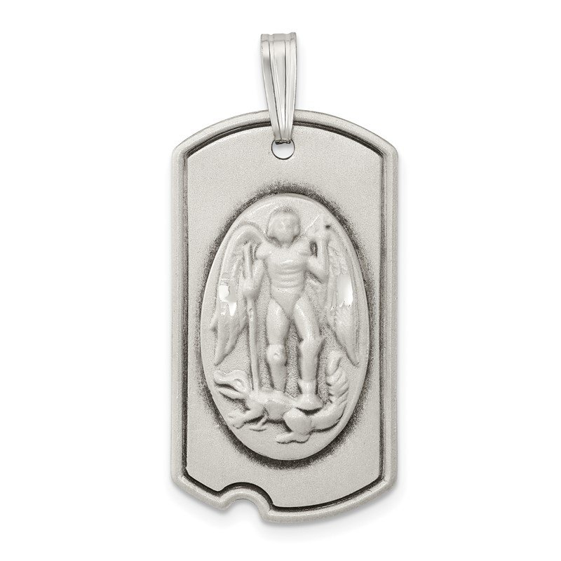 Quality Gold Sterling Silver Antiqued Dog Tag Saint Michael Pendant