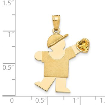 14k Boy with CZ November Birthstone Charm