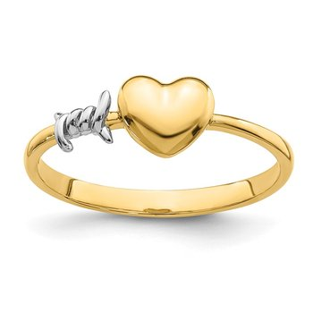 14K with White Rhodium Barb Wire and Heart Ring