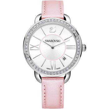 Aila Day Watch, Leather strap, Pink, Silver tone