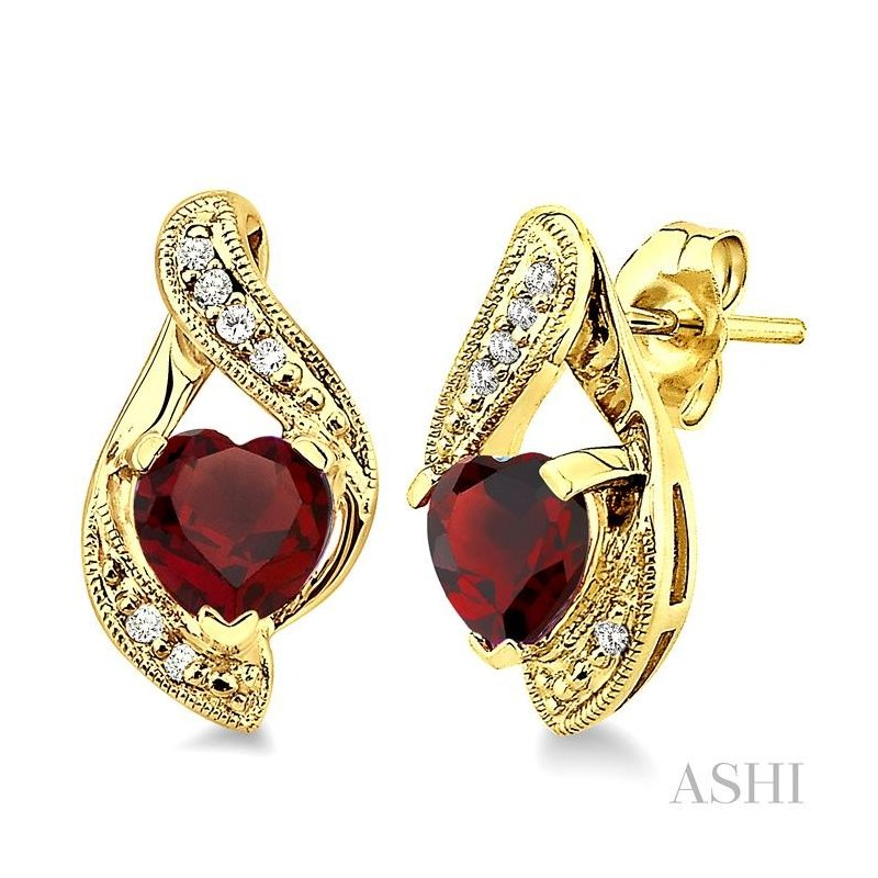 ASHI heart shape gemstone & diamond earrings