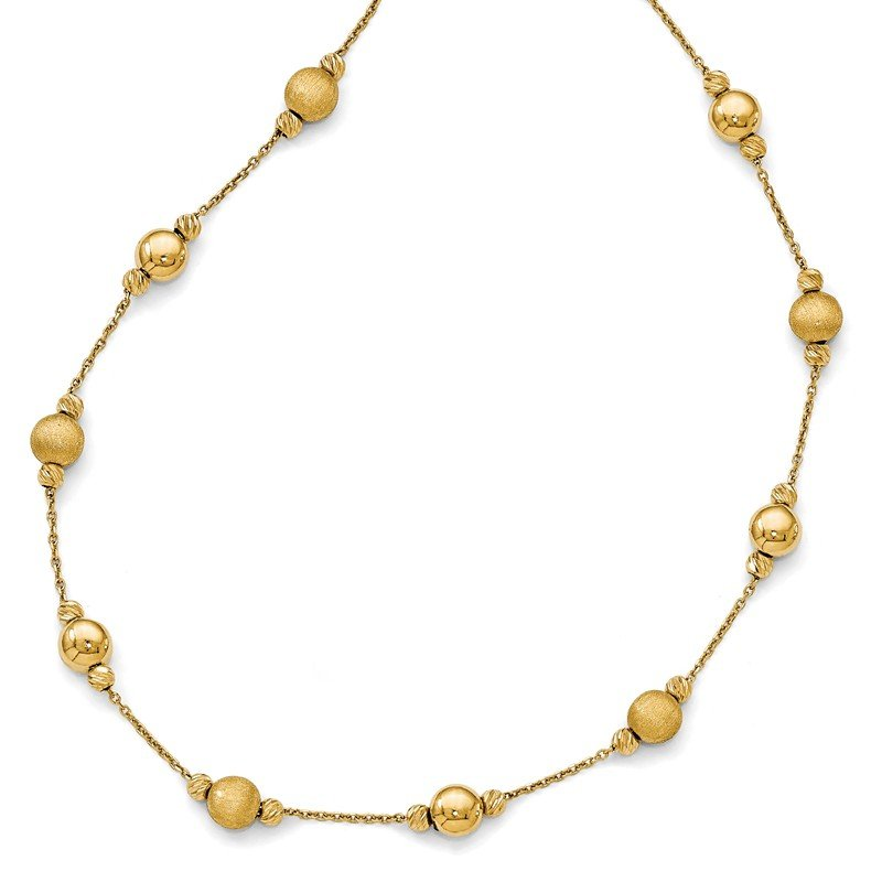 Leslie's Leslie's 14K D/C Scratch Finish Polished Necklace