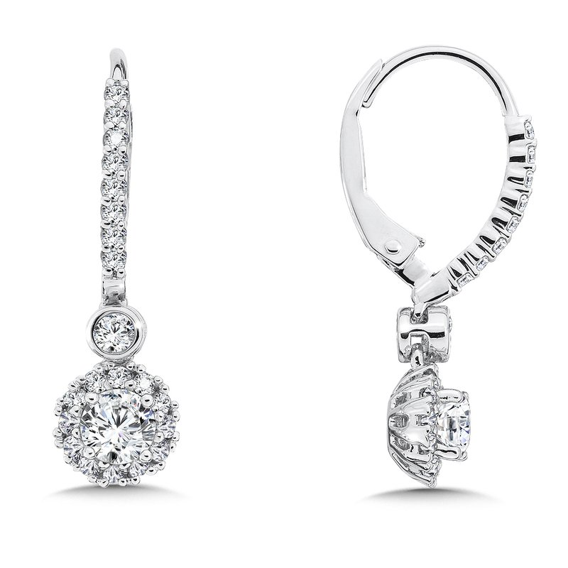 Caro74 Diamond Drop Earrings with Round Halo in 14K White Gold with Platinum Post (5/8ct. tw.)