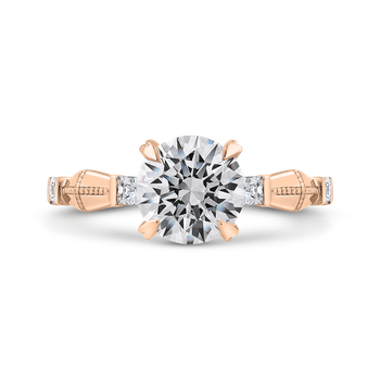 18K Rose Gold Round Cut Diamond Engagement Ring (Semi-Mount)