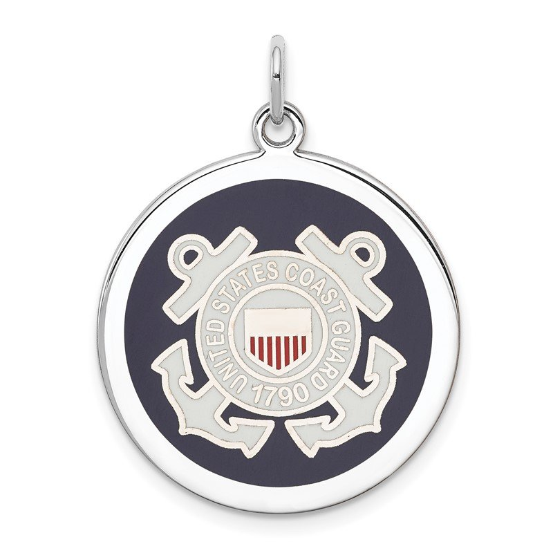 J.F. Kruse Signature Collection Sterling Silver Rhodium-plated US Coast Guard Disc