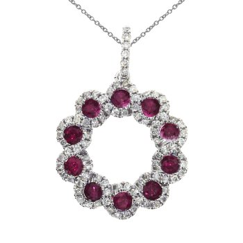 14k White Gold Ribbon Ruby Round Pendant