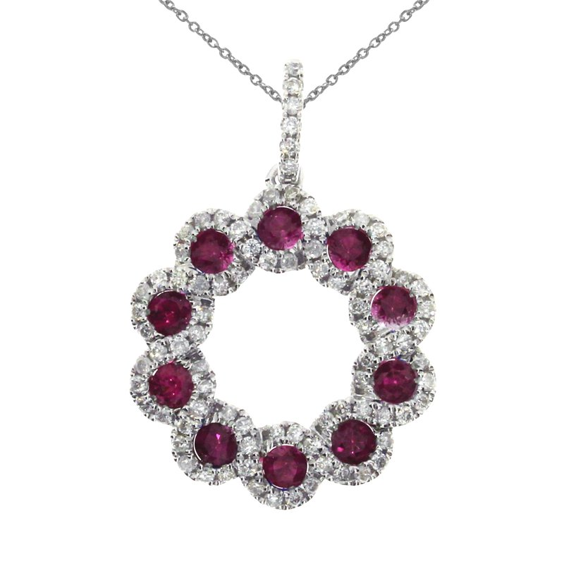 Color Merchants 14k White Gold Ribbon Ruby Round Pendant