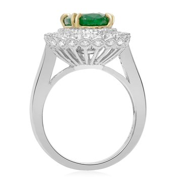 Double Halo Emerald & Diamond Ring