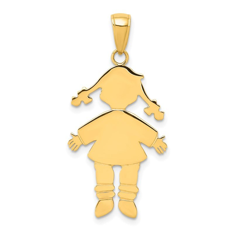 Quality Gold 14k Flat Engravable Girl Charm