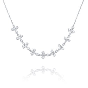 14k Gold and Diamond Floral Necklace