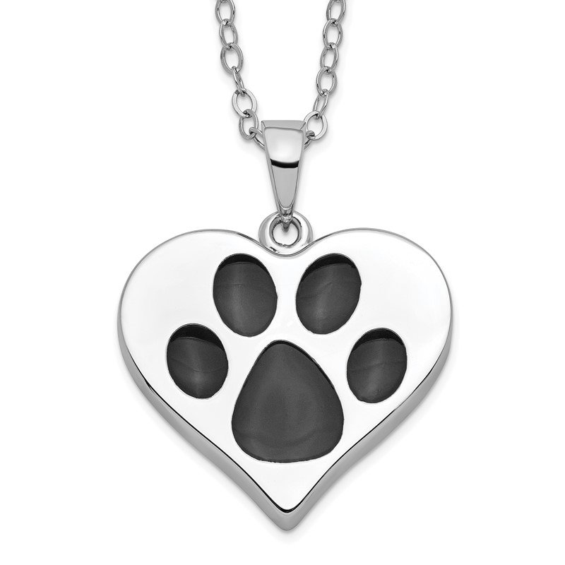 Quality Gold Sterling Silver Antiqued Black Paw In Heart Ash Holder 18in. Necklace