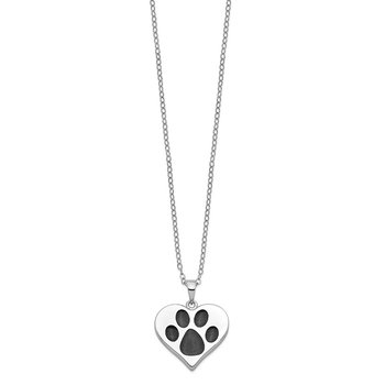 Sterling Silver Antiqued Black Paw In Heart Ash Holder 18in. Necklace