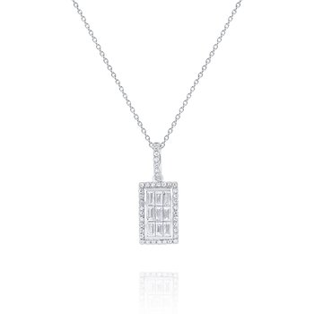 Diamond Rectangle Mosaic Pendant Set in 14 Kt. Gold