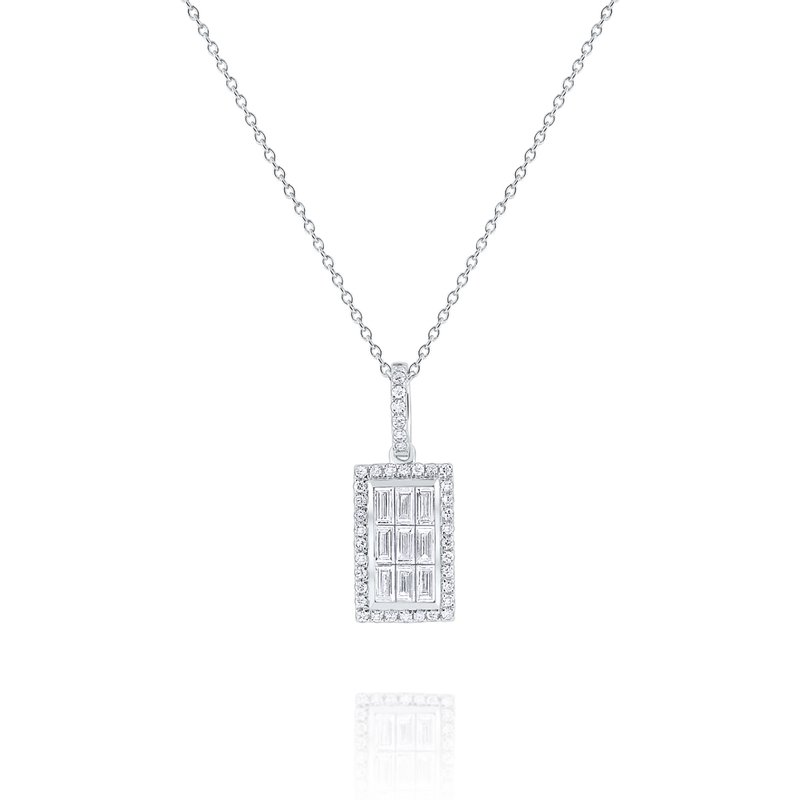 KC Designs Diamond Rectangle Mosaic Pendant Set in 14 Kt. Gold