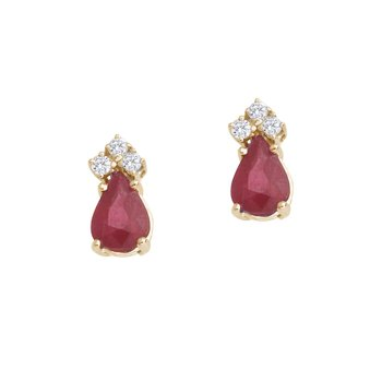 14k Yellow Gold Ruby And Diamond Pear Shaped Earrings