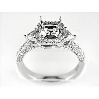 14K W RING 96RD 0.60CT 2TRI 0.26CT