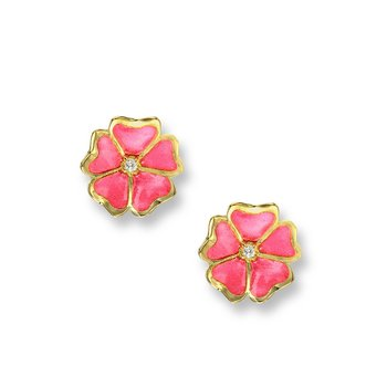 Pink Rose Stud Earrings.18K -Diamonds - Plique-a-Jour