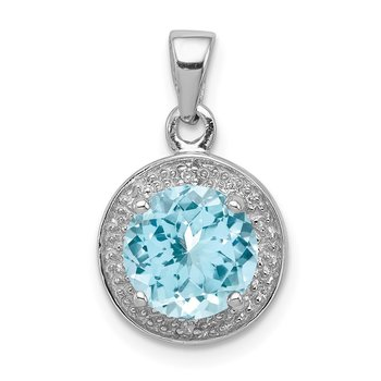Sterling Silver Rhodium Plated Diamond & Light Swiss BT Pendant