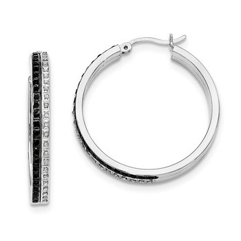 Sterling Silver Black & White Diamond Mystique Round Hoop Earrings