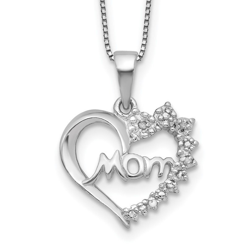 Quality Gold Sterling Silver Rhodium-plated Diam. Mom Necklace