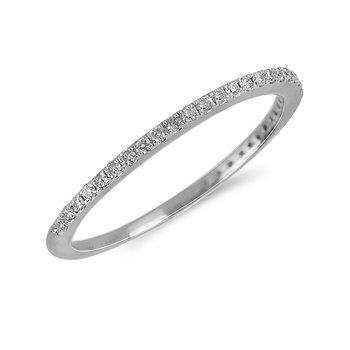 14K WG Diamond almost eternity Band in Prong Setting. 1/10 Cts