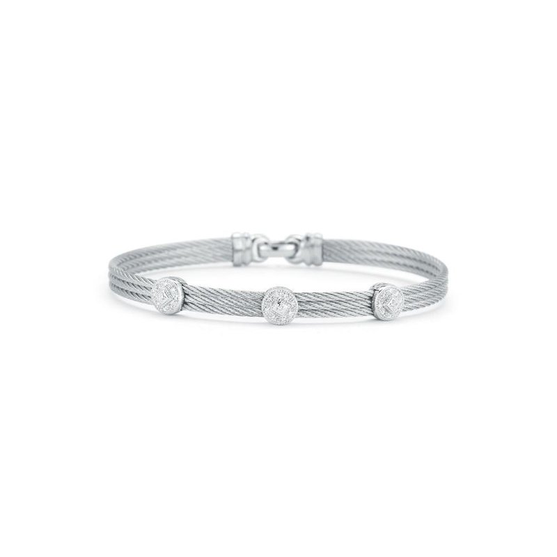 ALOR Grey Cable Classic Stackable Bracelet with Triple Round Station set in 18kt White Gold