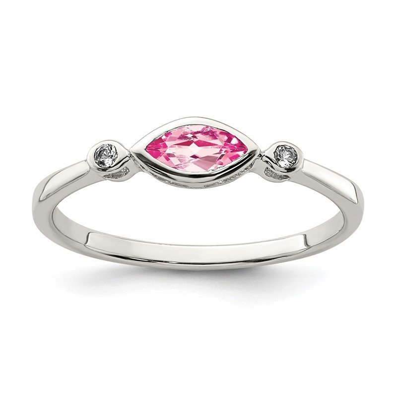 J.F. Kruse Signature Collection Sterling Silver Polished Pink Tourmaline and White Topaz Ring