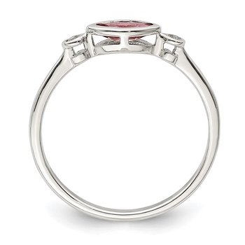Sterling Silver Polished Pink Tourmaline and White Topaz Ring