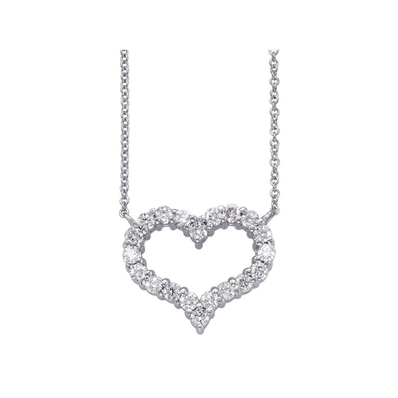 S. Kashi  & Sons White Gold Diamond Heart Necklace