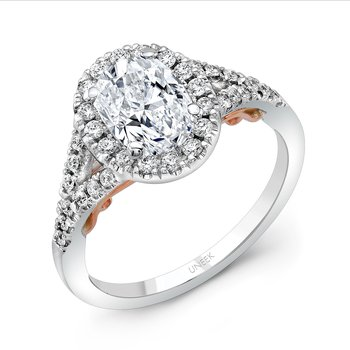 "Uneek ""Cancelli"" Oval Diamond Halo Engagement Ring with Pave Split Shank in 14K White Gold, and Under-the-Head Filigree in 14K Rose Gold"