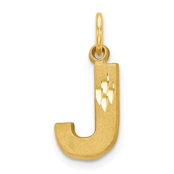 14KY Satin Diamond-cut Letter J Initial Charm