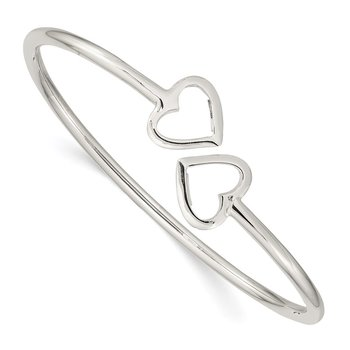Sterling Silver Polished Heart Bangle