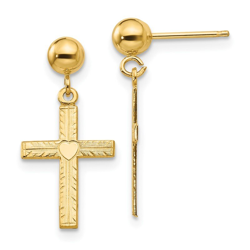 Quality Gold 14k Polished & Satin Cross Dangle Earrings