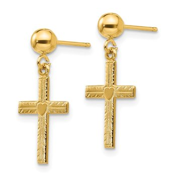 14k Polished & Satin Cross Dangle Earrings