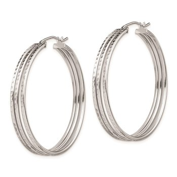 Sterling Silver Rhodium Plated Textured Fancy Hoop Earrings