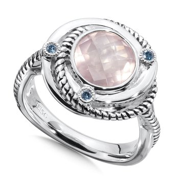 Sterling silver,  rose quartz and blue diamond ring