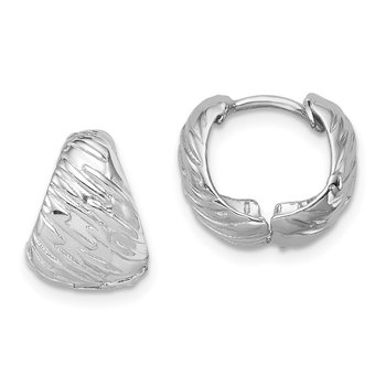 Sterling Silver Rhodium Polished Textured Hinged Hoop Earrings