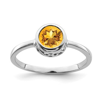Sterling Silver Rhodium-plated Polished Citrine Round Ring