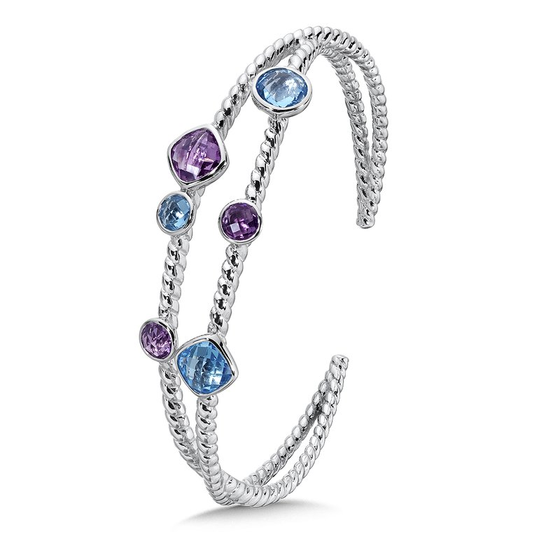 Colore Sg Sterling Silver Amethyst & Blue Topaz Cuff