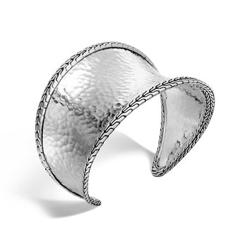 Classic Chain 42.5MM Cuff in Hammered Silver