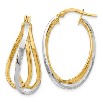 Leslie's 14K Two-tone Polished Twist Hoop Earrings