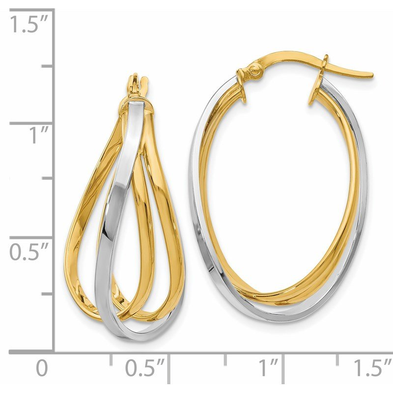 Leslie's Leslie's 14K Two-tone Polished Twist Hoop Earrings