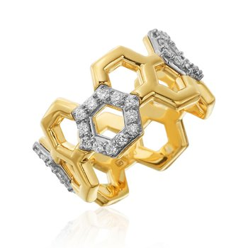 "Honeybee ""B"" Interspersed Diamond Pavé Honeycomb Outline R884G"